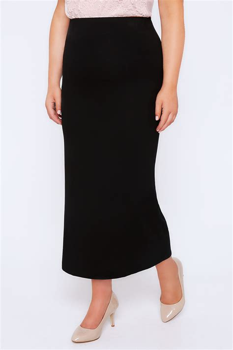 black jersey maxi skirt plus size 16 to 32