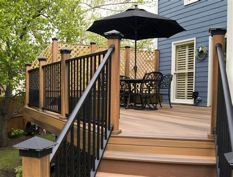 outdoor cozy fiberon railing   deck design ideas