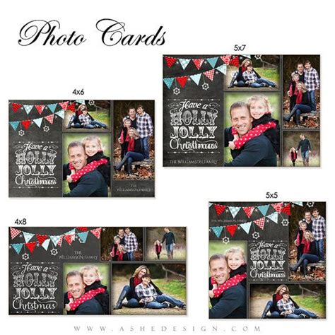 4x8 Flat Photo Cards Templates by Card Design Chalkboard Jolly