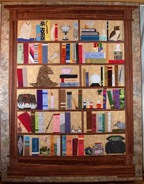 bookshelf quilt it s got books harry potter and all my