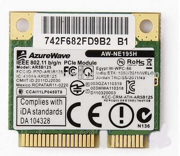 Wireless Card Atheros Ar5b125 atheros ar5b125 half height wireless wifi mini pci e card