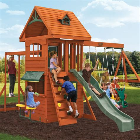 swing set ridgeview deluxe clubhouse wooden swing set backyard