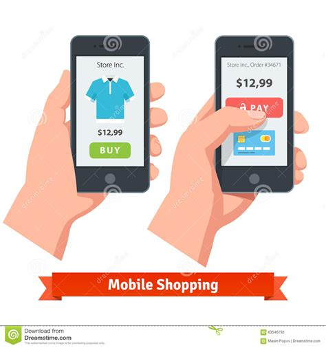 www online mobile shopping com mobile smartphone ecommerce online shopping stock vector