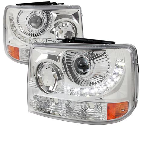 1999 2002 chevy silverado chrome led projector headlights 2lhp siv991pc rs