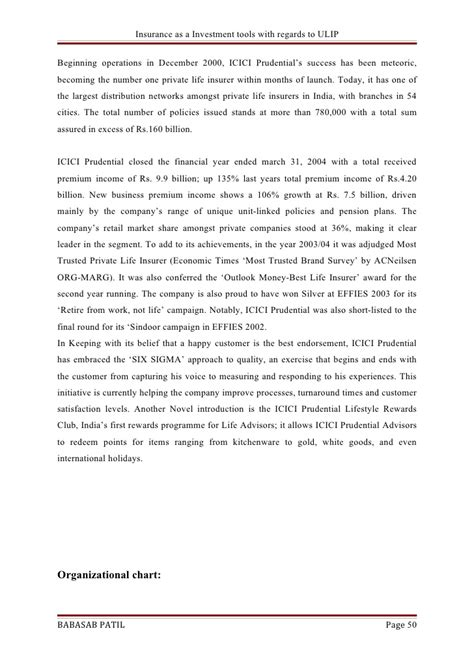 Mba Marketing Project On Icici Bank by Insurance As A Investment Tool Icici Bank Project Report