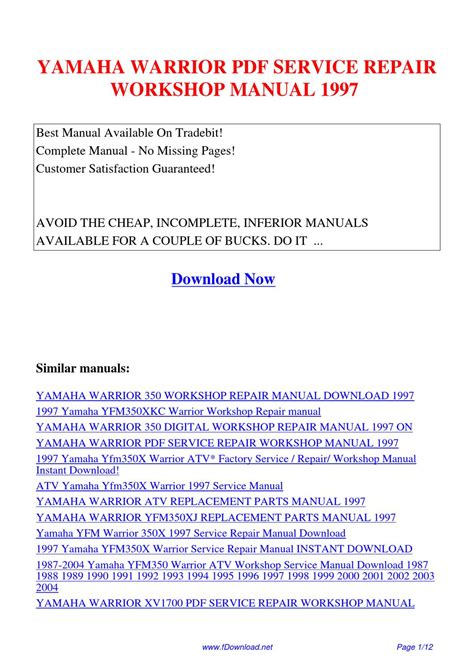 Yamaha Warrior Service Repair Workshop Manual 1997 By