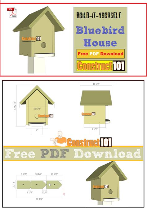 Bluebird House Plans Pdf Download Construct101 Bluebird House Plans Pdf