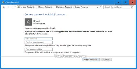 Local Id add password to local account in windows 10 windows 10