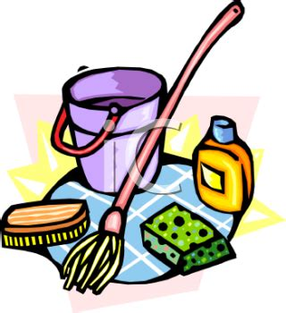Commercial Bathtub Cleaner Royalty Free Mop Clipart