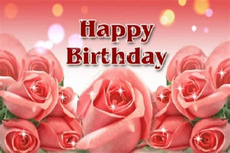 Happy Birthday Wishes Roses Animated Happy Birthday Greeting Ecard With Rose Flowers