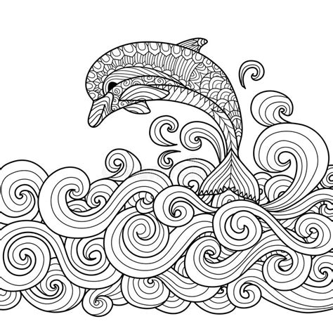 Dolphin Zentangle Stock Vector Illustration Of Ocean