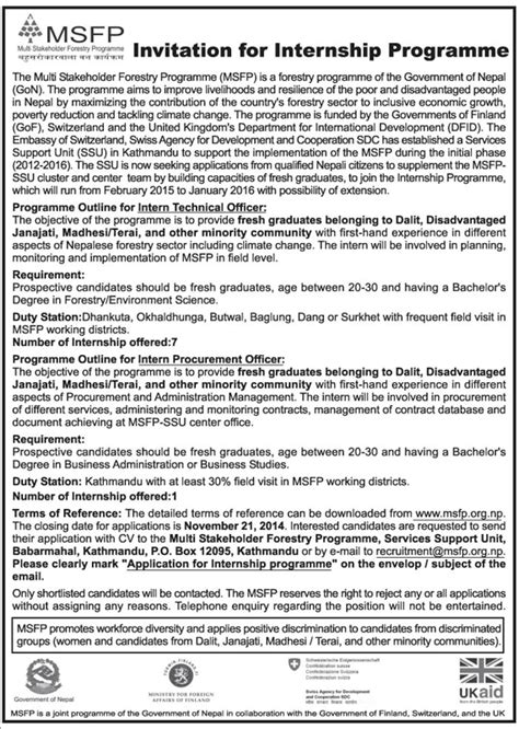 invitation for internship programme from msfp