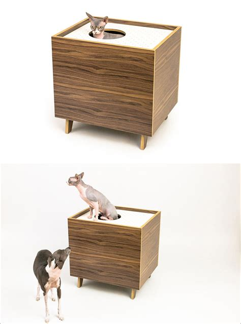 these mid century modern inspired cabinets hide a cat s