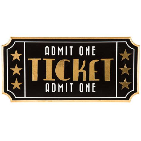 ticket admit one theatre wooden sign 3d home theater