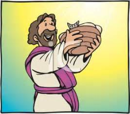 Jesus holding a basket of bread and fish royalty free clipart
