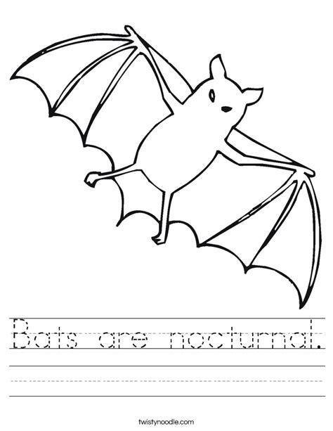 printable nocturnal animal pictures bats are nocturnal worksheet twisty noodle