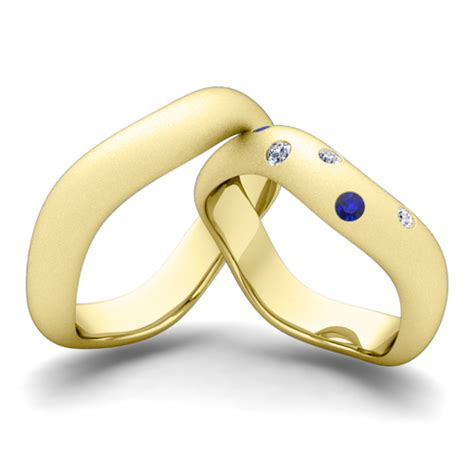 matching wedding band 14k gold curved sapphire ring