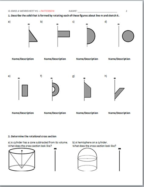 geometry cross sections high school geometry common core g gmd b 4 rotational