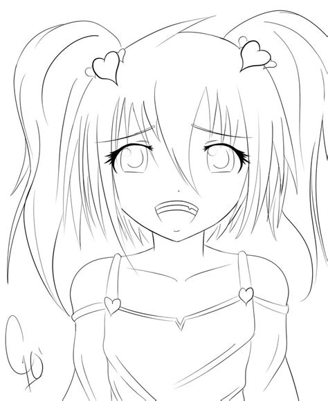 manga girl coloring pages cute anime girl by chuloc on deviantart