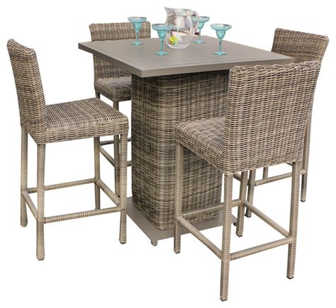 Patio Furniture Pub Table Sets Tk Classics Royal Outdoor Wicker Pub Table With Bar Stools 5 Set Reviews Houzz