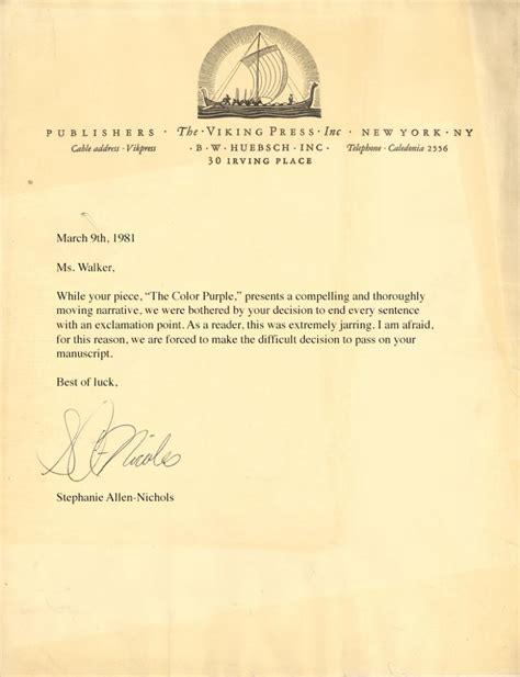 Rejection Letter Publisher Literary Rejection Letters Exles From The
