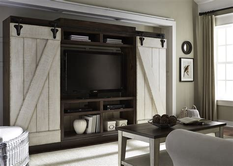 white barn door entertainment center rustic entertainment center with sliding barn doors by