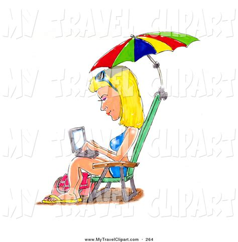 Surf The Web With The Umbrella by Clipart Of A Caucasian Blond In A Blue