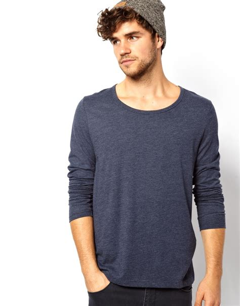 lyst asos sleeve t shirt with bound scoop neck in