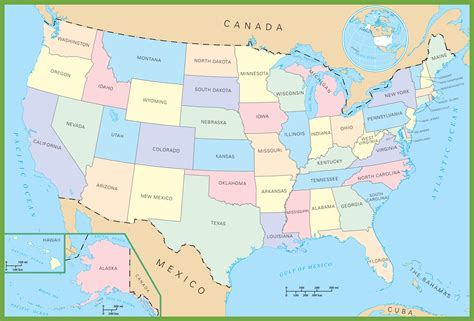 usa map political states political map usa my