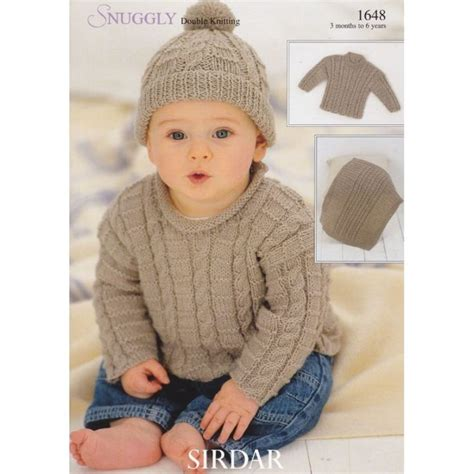 knitting pattern sweater boy 1648 sirdar snuggly dk boys cabled sweater hat and