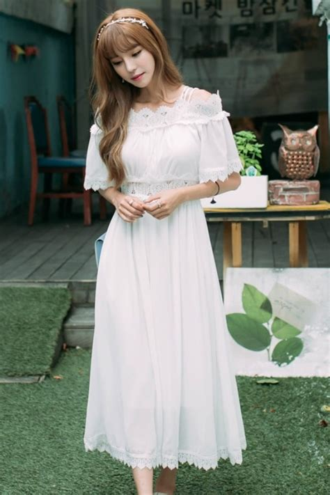 Maxi Putih dress putih chiffon import maxi dress korea style