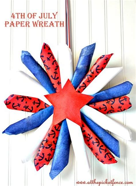 4th Of July Paper Crafts - 4th of july paper wreath tissue paper wreath july 4th