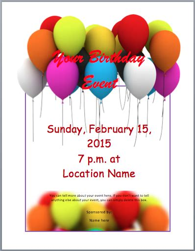 word birthday invitation template birthday invitation template word wblqual