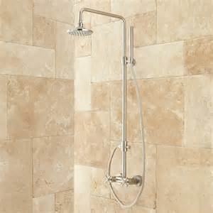 stiles exposed pipe shower system with rainfall shower