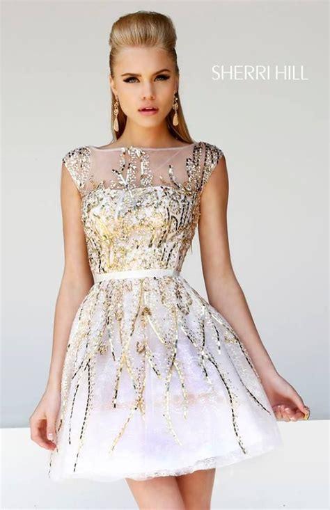Short Hair Sherri Hill | gold adorned short dress by sherri hill nesa banquet