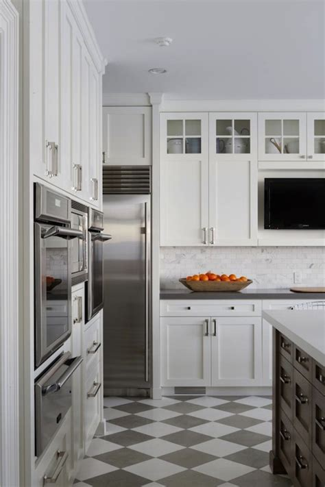 White Kitchen Cabinets Grey Floor Kitchen With Gray Floor Tiles Design Ideas