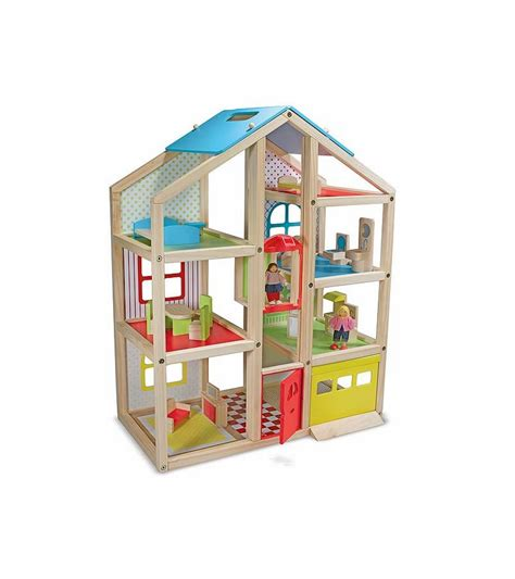 wooden doll houses with furniture melissa doug hi rise wooden dollhouse and furniture set