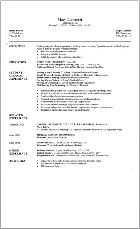 New Grad Nursing Resume by Sle Nursing Resume New Graduate Nursing And