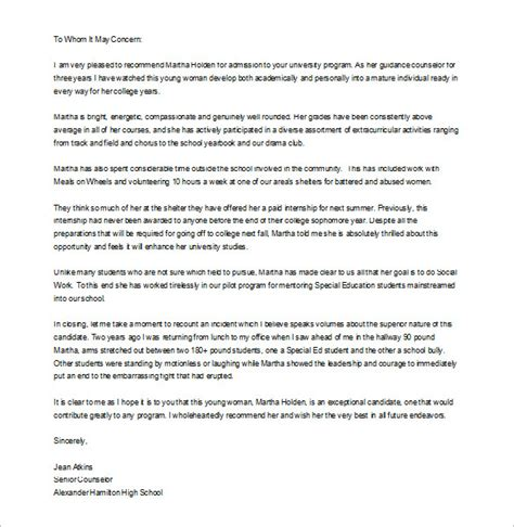 letter of recommendation template for student 8 letter of recommendation for student free sle