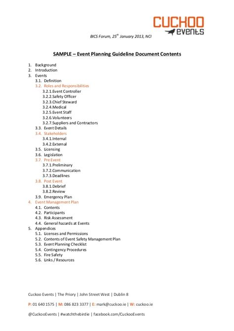 business plan guidelines format cuckoo events bics 2013 sle event planning guidelines