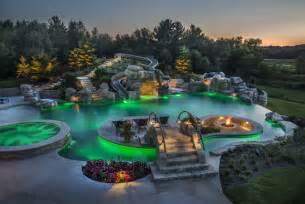Infinity Pool Chicago Infinity Edge Pool With Led Lighting Green Pool