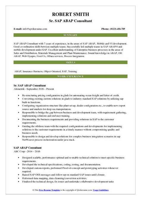 sle resume abap consultant abap consultant resume sles qwikresume