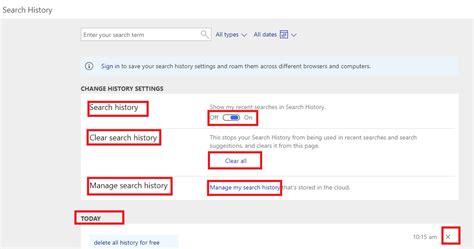 browser history delete bing delete bing search history delete history