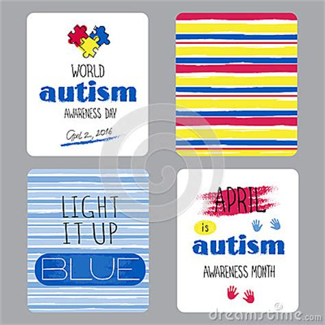 autism id card template autism awareness set of cards stock vector image 68962352