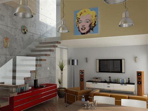 modern living room art modern living room glass balustrade pop art interior