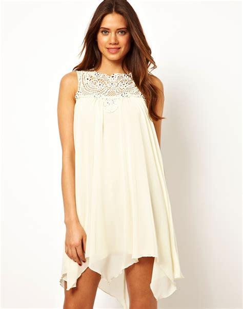 swing dress uk tfnc swing chiffon evening dress in jewelled crochet cream