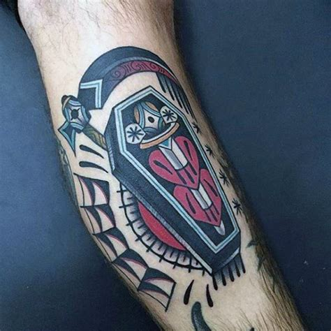 coffin tattoos 90 coffin designs for buried ink ideas