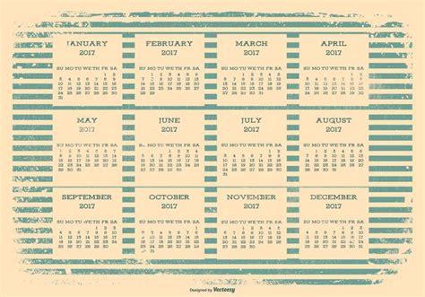 Calendario Retro 2017 Retro Grunge Calendar Free Vector