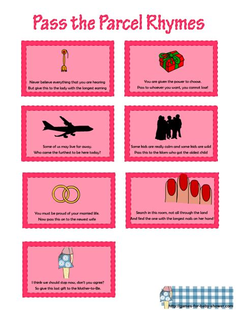free printable pass the parcel rhymes for baby shower
