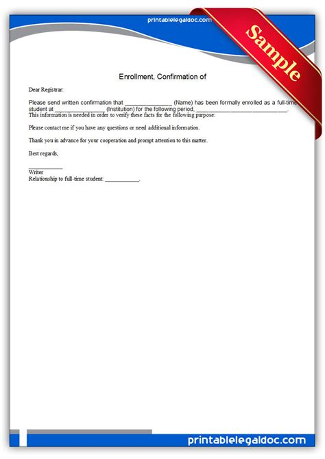 Confirmation Letter Enrollment Free Printable Confirmation Of Enrollment Form Generic